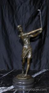 Französisch Bronze Female Golfer Statue Signiert Milo Golf Golf