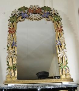 Französisch Jugendstil-Spiegel Pier Tropical Floral Frame Spiegel