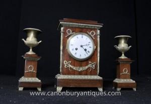 Französisch Reich Mahagoni Mantel Uhr Garniture Set