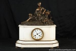 Französisch Reich Marmor Bronze Figurine Mantel Uhr