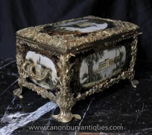 Französisch Sevres Porcelain Schmuckkoffer Box Trinkets