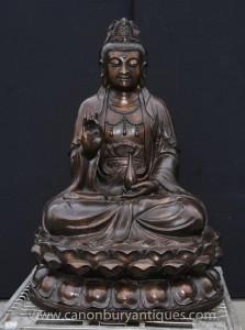 Große Bronze Burmese Buddha-Statue Lotus Figurine buddhistische Buddhismus