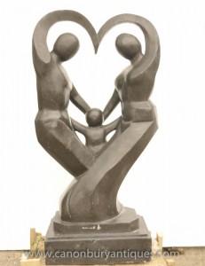 Große Marmor Abstrakte Kunst Skulptur Family Portrait Moderne Statue