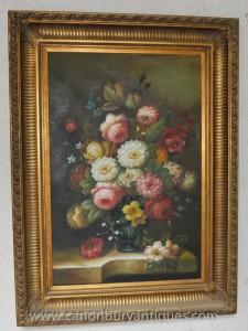 Große viktorianische Blumen-Stillleben-Ölgemälde Blumen Gilt
