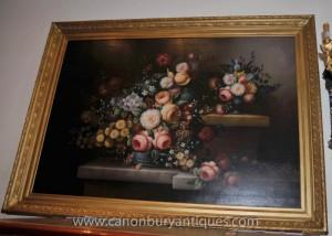 Große viktorianische Blumen-Stillleben-Ölgemälde Gilt Frame