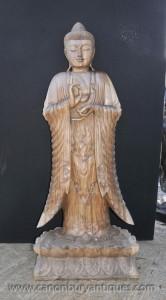 Hand geschnitzte Burmese Buddha Statue Lotus Flower Basis Buddhismus Buddhistische Kunst