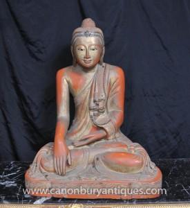 Hand geschnitzte tibetischen Buddha-Statue Buddhistische Holz Buddhismus Kunst