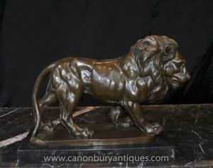 Italienisch Bronze Lion Statue Signiert Giainbologna Tiere Katzen Bronzen