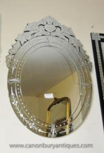 Italienisch venezianischem Glas Spiegel Spiegel Etched