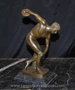 Italienische Bronze Nude Diskuswerfer Statue Male Athlete