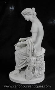 Italienische Stein Klassische Weibliche Statue Lyre Spieler Signiert W.Brodie