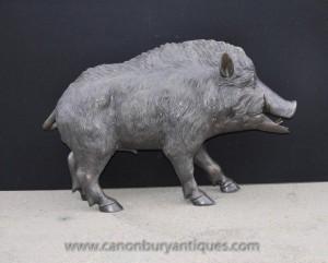 Lebensgroße Bronze Hog Skulptur keltische Eber Schwein Statue
