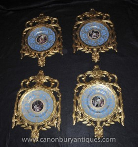 Legen Französisch Sevres Porcelain Plaques Platten Gilt Frame
