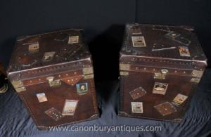 Paar Englisch Leder Gepäck Trunks Beistelltische Safarimöbel