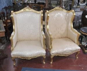 Paar Französisch Louis XV Sessel Fauteils Sofa Sitz High Back