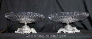 Paar Französisch Reich Rococo silberne Platte Glasschalen Teller Suppenschüssel Comports