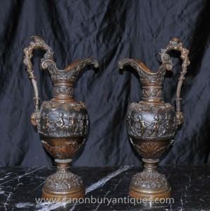 Pair Antique Französisch Bronze Amphora Urne Krüge Cherub Urnen 1890
