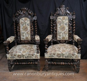 Pair Antique William Mary Oak Sesseln Thrones Barley Twist