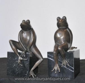 Pair Bronze Frog Toad Statuen Casting Bookends Marmorunterseite