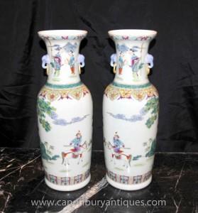 Pair Chinese Qian Long Porzellan hohen Vasen Urnen Keramik Ceramic