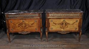 Pair Französisch Kaiserreich Antiquität Kommoden Kommoden Cherub Inlay