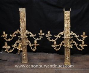 Pair Französisch Louis XV Rococo Wandlampen Lichter Appliques Ormolu