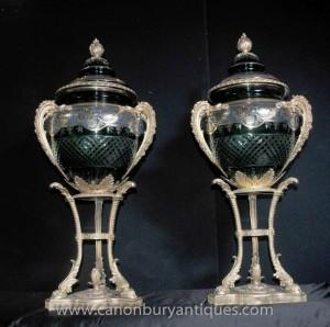 Pair Französisch Reich Große Kristallglas Vasen Urnen Ormolu Ständer