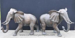 Pair Große Bronze Elefanten Elefantenstatue Tiere Dumbo Casting