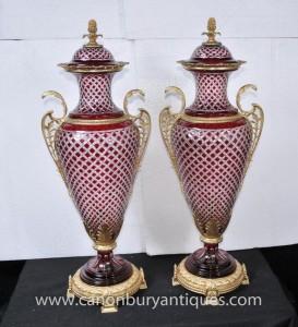 Pair Große Reich Glass Amphora Urnen Vasen Französisch Ormolu