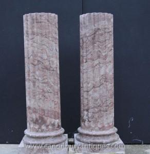 Pair Große italienische toskanischen Marmor Spalte-Bedienpult Ständer