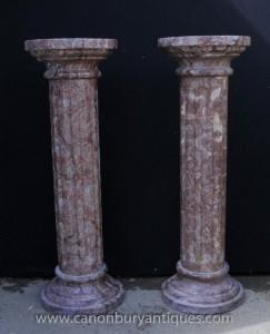 Pair Klassische italienische Marmor dorischen Säulenständer Standsäulen
