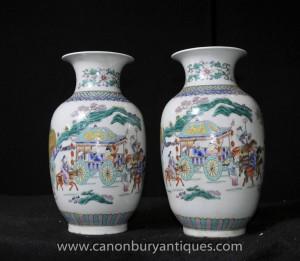 Pair Qianlong Porzellan Urnen chinesischen Keramik Vasen