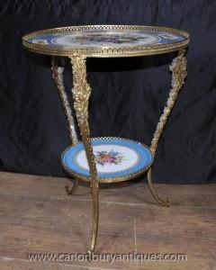 Pair Sevres Französisch Porzellan Cocktail Tische Beistelltisch