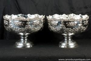 Pair Victorian Silver Plate Rokoko Bowlekübel Champagnerkühler Geschirr