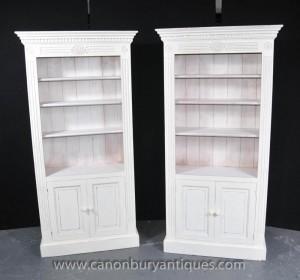 Pair gestrichene Wände Küche Oak Dresser Schränke Potboard Bauernhof Bücherregal