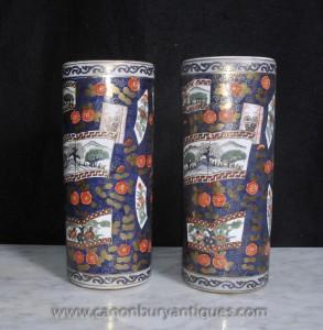 Pair japanischen Satsuma Porzellanschirmständer Urnen Vasen
