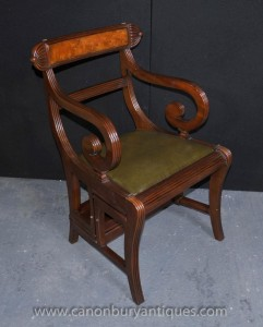 Regency Metamorphic Chair Set Bibliothek Schritte Sessel Mahagoni