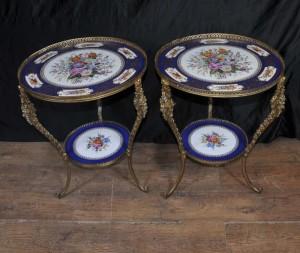Sevres Porzellan und Ormolu Beistelltisch Blumen Keramik Ormolu