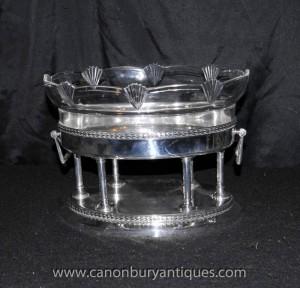 Silberne Platten deutschen Art Deco Glas-Stand Tray Terrine 1930 WMF
