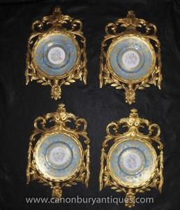 Stellen Sevres Porzellan Cherub Celestial Plaques Platten in Gilt Frame