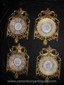 Stellen Sevres Porzellan Cherub Plaques Platten Gilt Frame