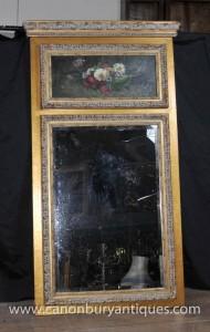 Victorian Gilt Spiegel Ölgemälde Blumen-Stillleben