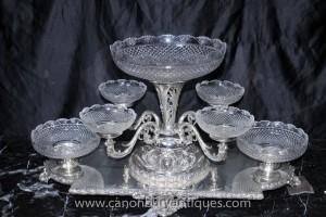 Victorian Sheffield silberne Platten-Tafelaufsatz Tafelaufsatz Cut Glass Dish Anzeige