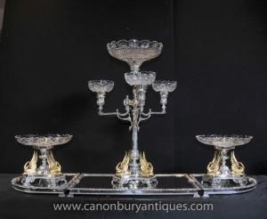 Victorian Silver Plate Tafelaufsatz Tafelaufsatz Gilt Swan-Teller-Schüssel