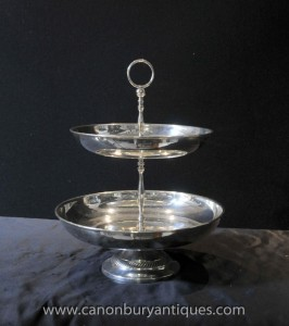 Victorian Silver Plate Zwei Tiered Kuchen-Standplatz English Afternoon Tea