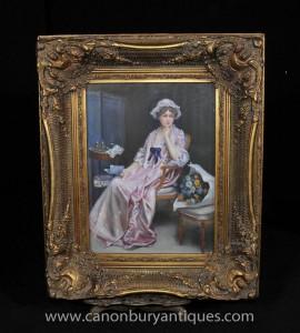 Viktorianische Ölgemälde Dame Female Portrait Parlour Gilt Frame