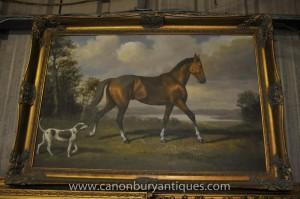 Viktorianische Ölmalerei Pferd und Hund Spaniel