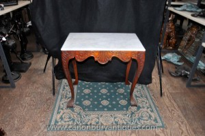Viktorianischen Mahagoni-Konsole Tabelle Marble Top