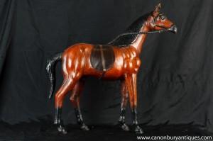 Weinlese-Leder-Englisch-Pferdestatue Pferd Pony Reit