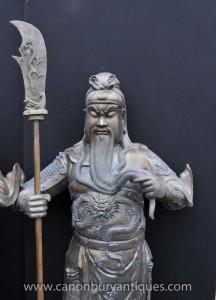 XL Paar Bronze japanischen Samurai-Krieger-Statuen Architectural Antiques